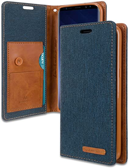 cheap for discount 9bf52 e0ec7 Galaxy S9 Plus Wallet Case with Free 5 Gifts, [Shockproof] GOOSPERY Canvas  Flip [Ver. Kraken] ID Card/Cash Slot with Kickstand Folio Cover for Samsung  ...