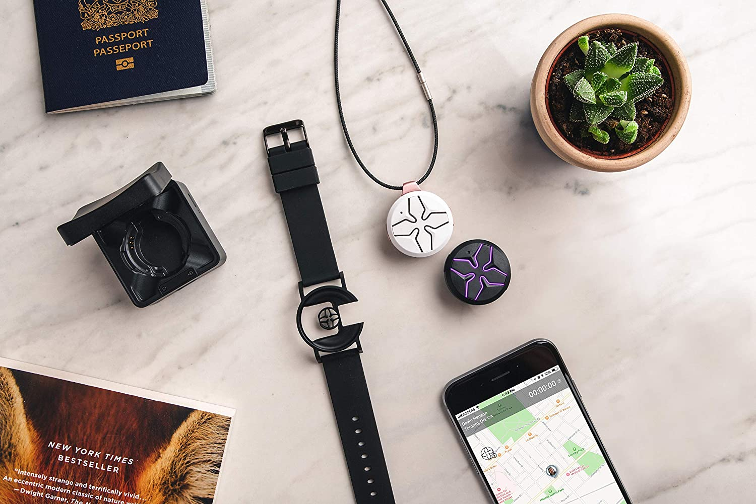 Share and Communicate with a Touch of a Button SEAM Lotus Wearable Personal Safety Device Real-Time GPS and Audio Sharing Record Hands-Free Smart Speaker-On-The-Go