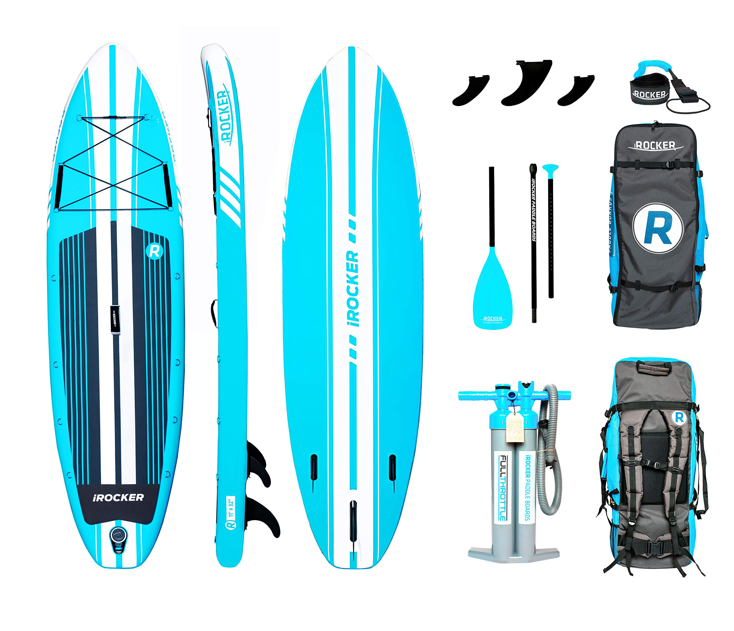 iROCKER All-Around Inflatable Stand Up Paddle Board 11' Long 32'' Wide 6'' Thick SUP Package (Aqua 2019)