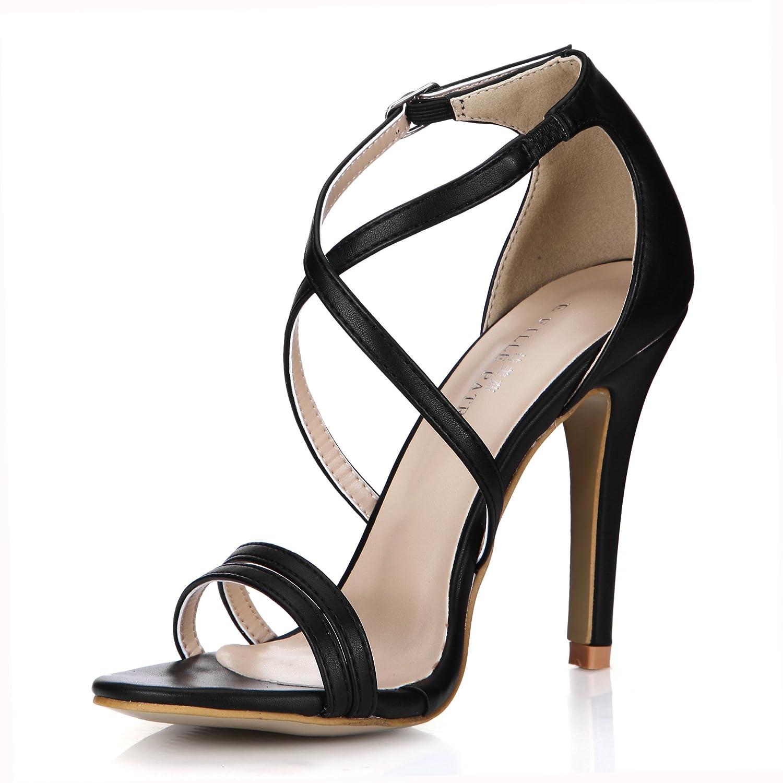 Im Frühjahr Frühjahr Frühjahr und Sommer Sandalen weiblichen Neues schwarzes Lederimitat High Heels minimalistischen jährliche Cross Schlaufe in der OL-high-heel Schuhe df8f7e