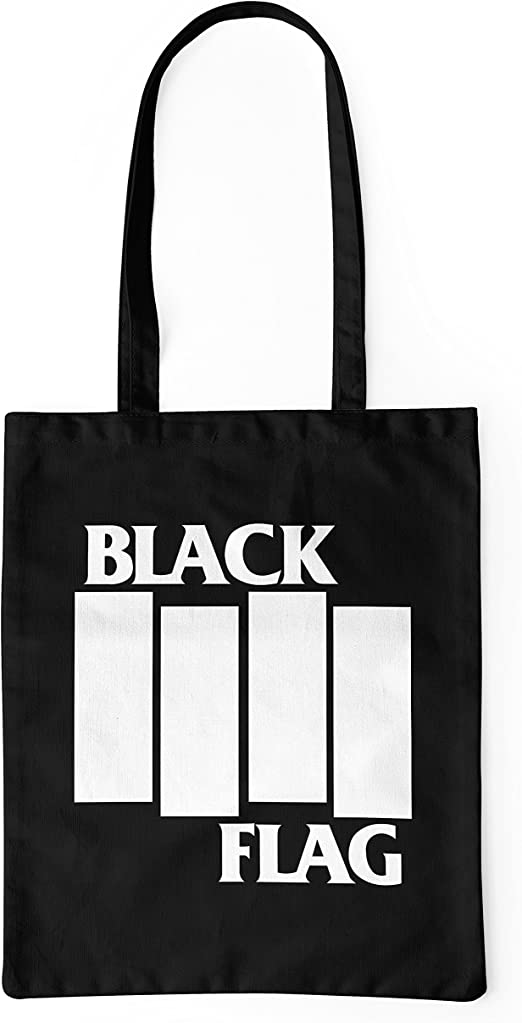 LaMAGLIERIA Bolsa de Tela Black Flag Stripes Logo - Tote Bag Shopping Bag 100% algodón, Negro: Amazon.es: Hogar