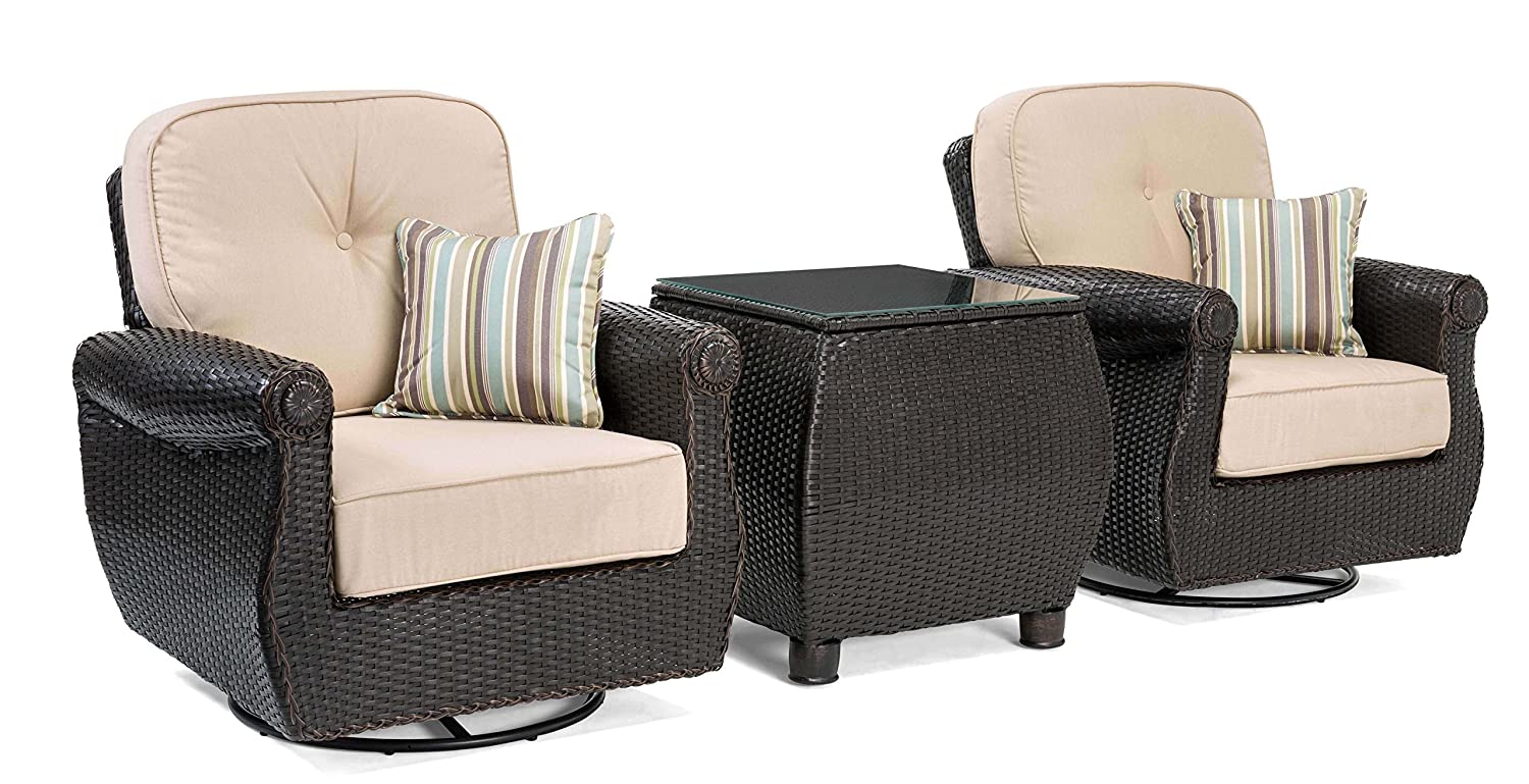 La z boy outdoor breckenridge 3 piece resin wicker patio furniture set natural tan 2 swivel rockers and side table with all weather sunbrella cushions