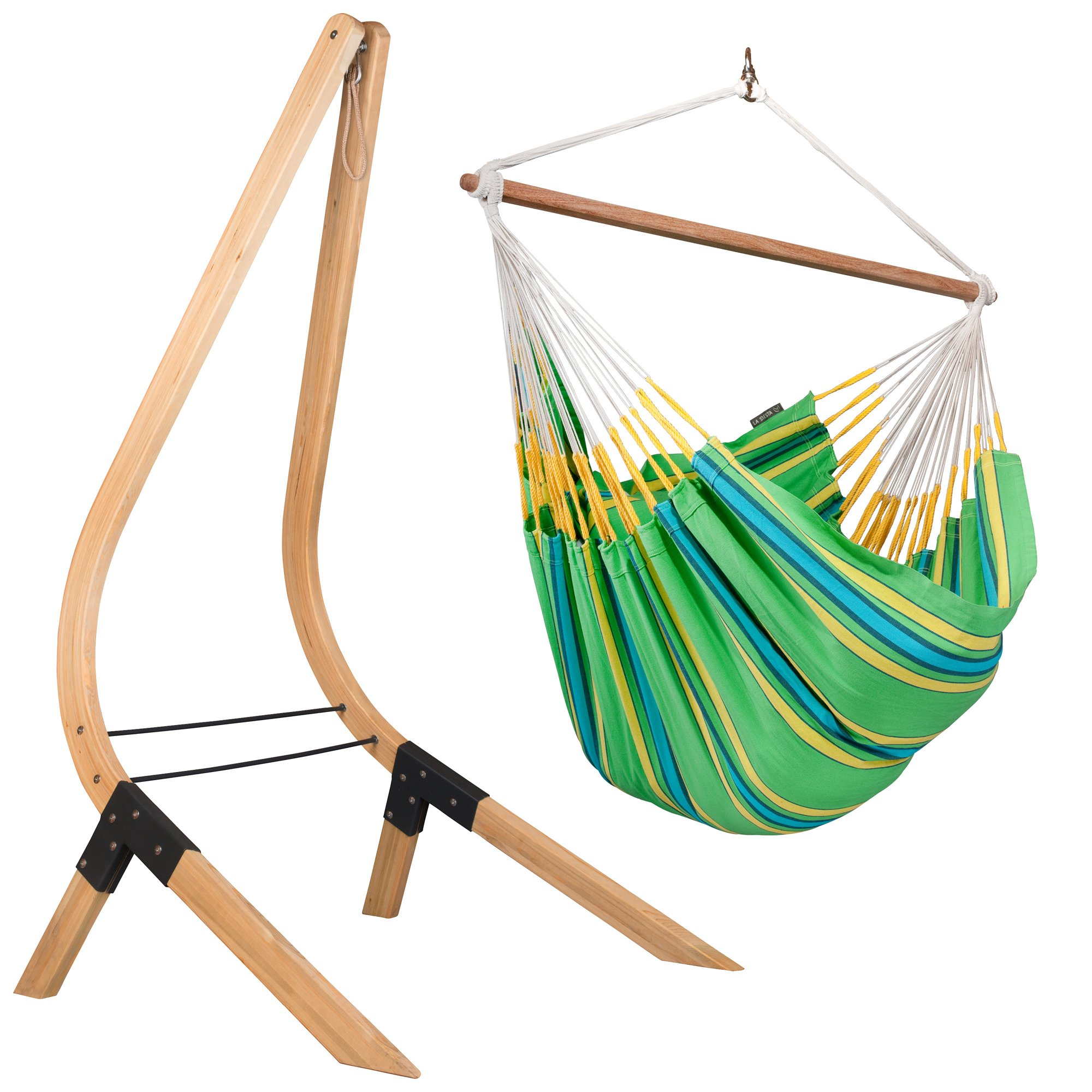 LA SIESTA Currambera Kiwi - Cotton Lounger Swing Hammock Chair with FSC Certified Spruce Stand