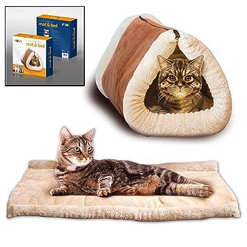Prime Paws Alfombrilla de gato y cama 2 en 1, cama grande para mascotas con