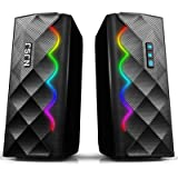 Computer Speakers, NJSJ Dynamic RGB Desktop Speakers, Bluetooth 5.0 & 3.5mm Aux-in Connection, Stereo USB Powered Gaming PC S