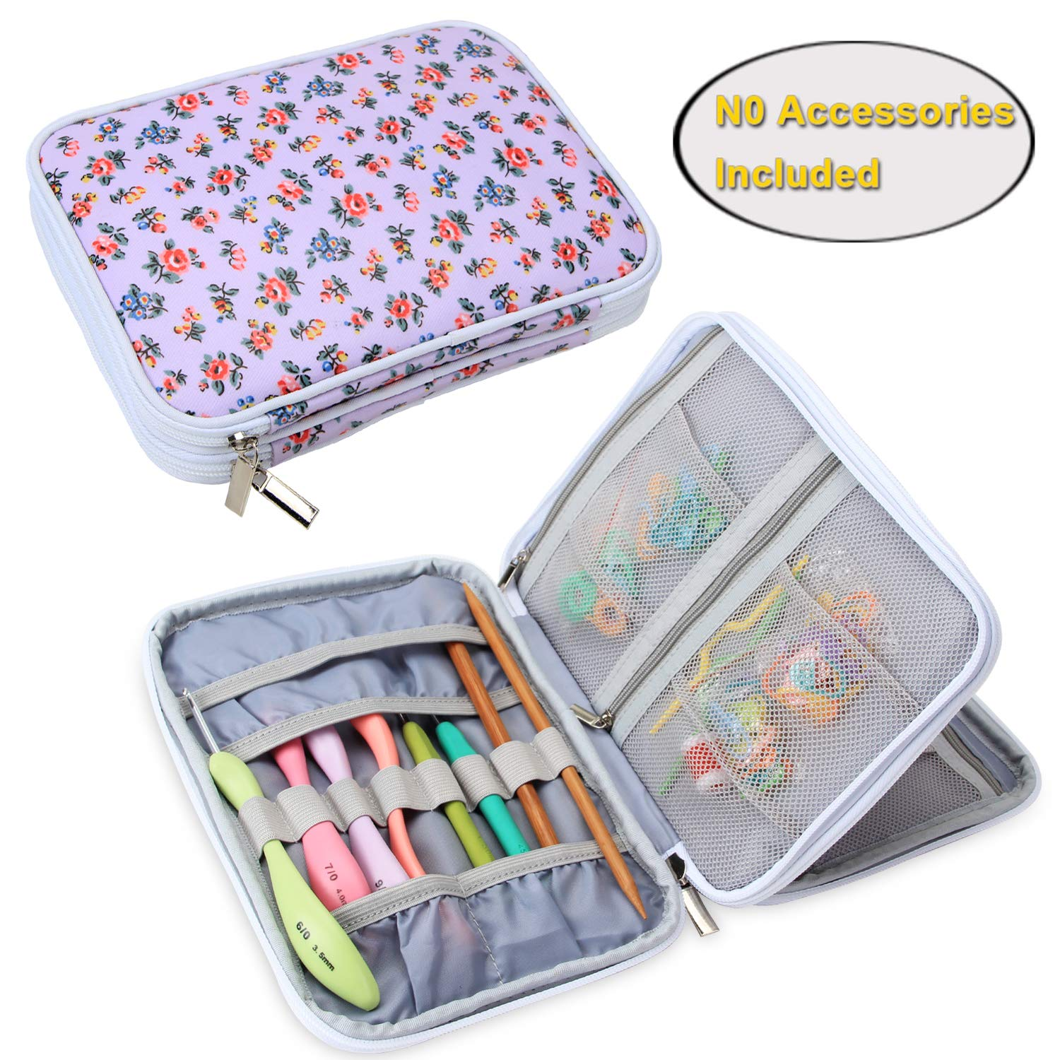 Teamoy Crochet Hook Case, Travel Storage Bag for Swing Crochet Hooks, Lighted Hooks, Needles(Up to 8'') and Accessories, Purple Flowers(No Accessories Included)