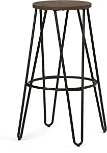 SIMPLIHOME Simeon Industrial Metal 30 inch Metal Bar Stool with Wood Seat in Cocoa Brown / Black