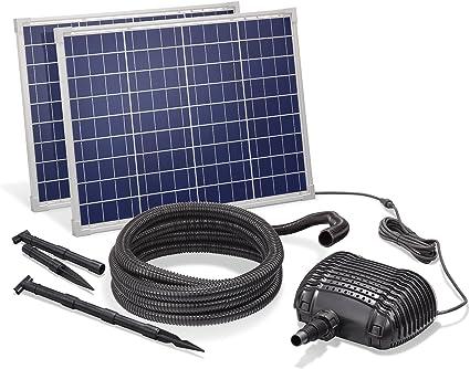 Kit complet 101968 Tuyau de 5 m Kit ruisseau solaire 100 W avec module solaire 3400 l//h Pompe de ruisseau 32 mm Hauteur de refoulement : 3 m