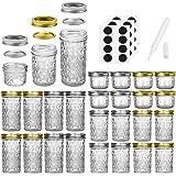 Mason Jars Canning Jars, 24 Pack Jelly Jars With Regular Lids, Ideal for Jam, Honey, Wedding Favors, Shower Favors, Baby Food