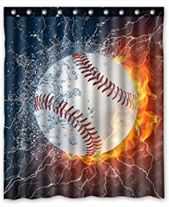 ZHANZZK Baseball Waterproof Bathroom Shower Curtain 60x72 Inches