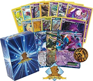 50 Random Pokemon Cards - All Rare Bundle! Featuring an EX or GX and Holo Rare in Every Bundle! 1 Pokemon Coin! Includes Golden Groundhog Deck Storage Box!