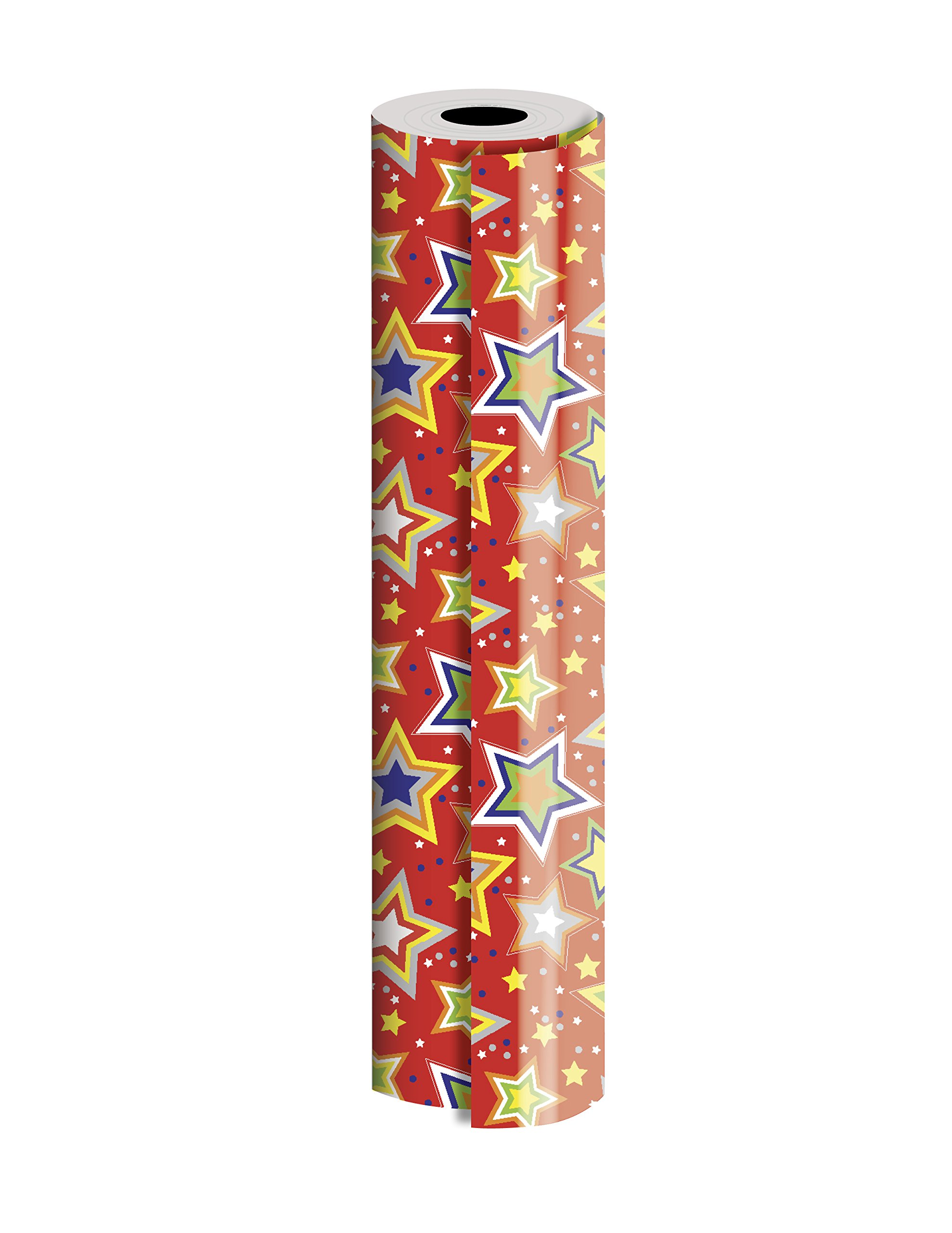 Jillson Roberts Bulk 1/4 Ream Gift Wrap Available in 14 Different Designs, 24'' x 208', Starry Red