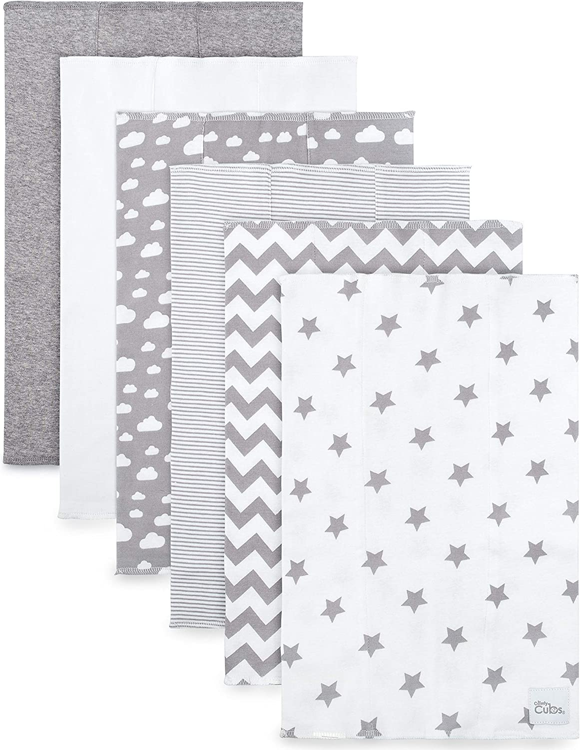 Comfy Cubs Burp Cloths 6 Pack Large 100% Cotton Washcloths Double Layered Burping Cloths Extra Absorbent and Soft for Boys and Girls (Grey Pattern)