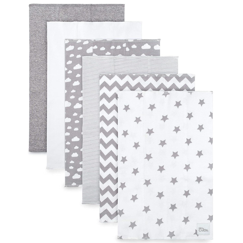 Doppellagiges Spucktuch Graues Muster Comfy Cubs 100/% Baumwolle Extra Saugf/ähig Und Weich Spuckt/ücher 6-er Pack Gro/ß Waschlappen
