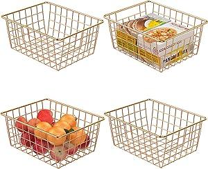 Wire Storage Basket, F-color 4 Pack Metal Household Storage Organizer Bin for Pantry, Shelf, Freezer, Kitchen Cabinet, Bathroom, Small, Rose Gold