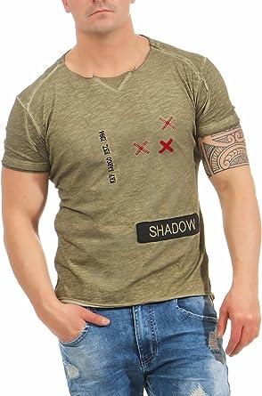 Key Largo Camiseta Caqui Corte en v Cuello Redondo Parches Sombra Ronda - Caqui, 2XL: Amazon.es: Ropa y accesorios