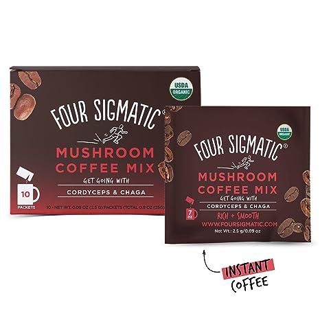 Seta de café con Cordyceps, 10 Polvo Bolsas - Cuatro Sigma Alimentos