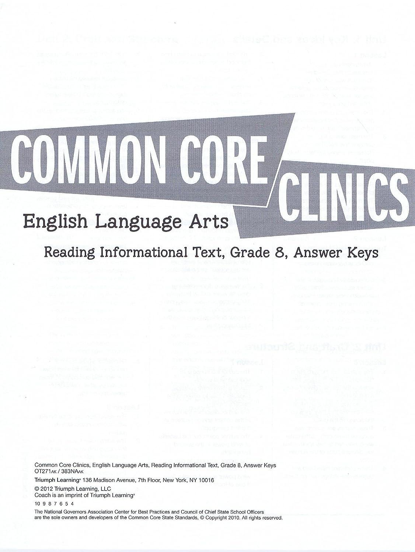 Amazon.com : Common Core Clinics ELA Grade 8 Reading Informational Text Answer  Key : Everything Else