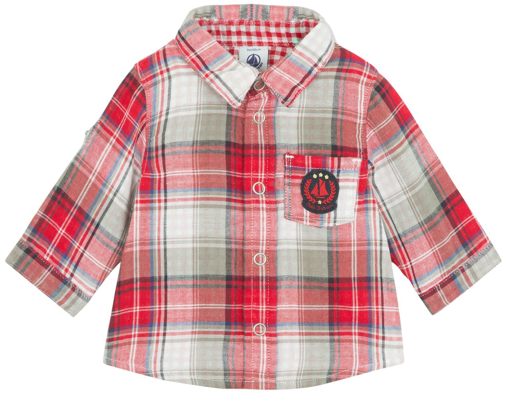 Petit Bateau Baby Boys' Check Shirt (Baby) - Red/Blue/Grey - 6 Months by Petit Bateau