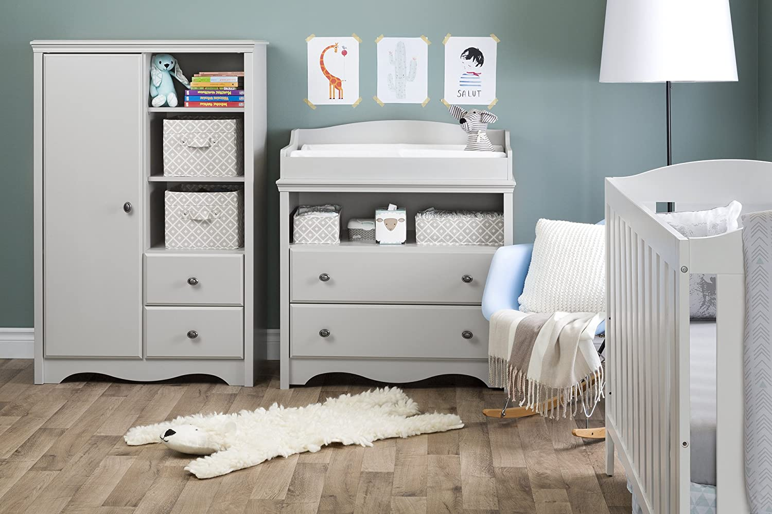 Soft Gray South Shore Angel Changing Table with Drawers