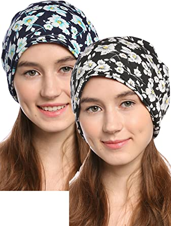 Ababalaya Women s Soft 3-Way Flower Warm Knitted Cotton Slouchy Beanie Chemo  Cap One Size 33f737263123