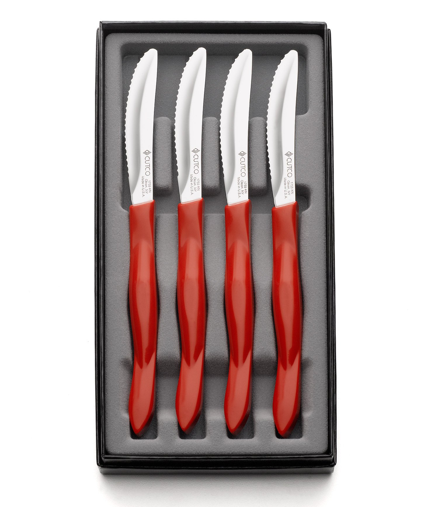 Cutco #1865 4-Pc. Table Knife Set in Gift Box (Red handle) by Cutco