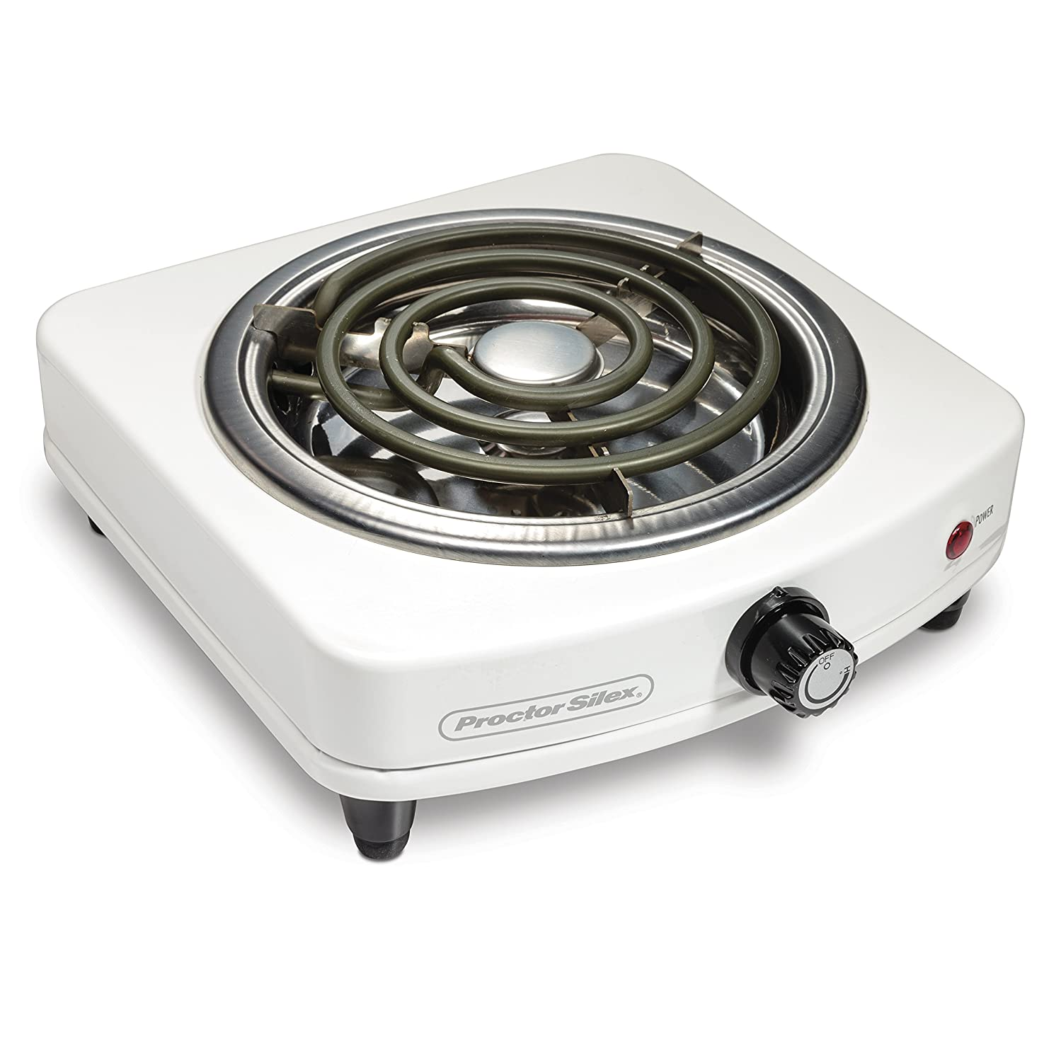 Proctor Silex 34103 Electric Single Burner, Compact and Portable, Adjustable Temperature Hot Plate, White Stainless