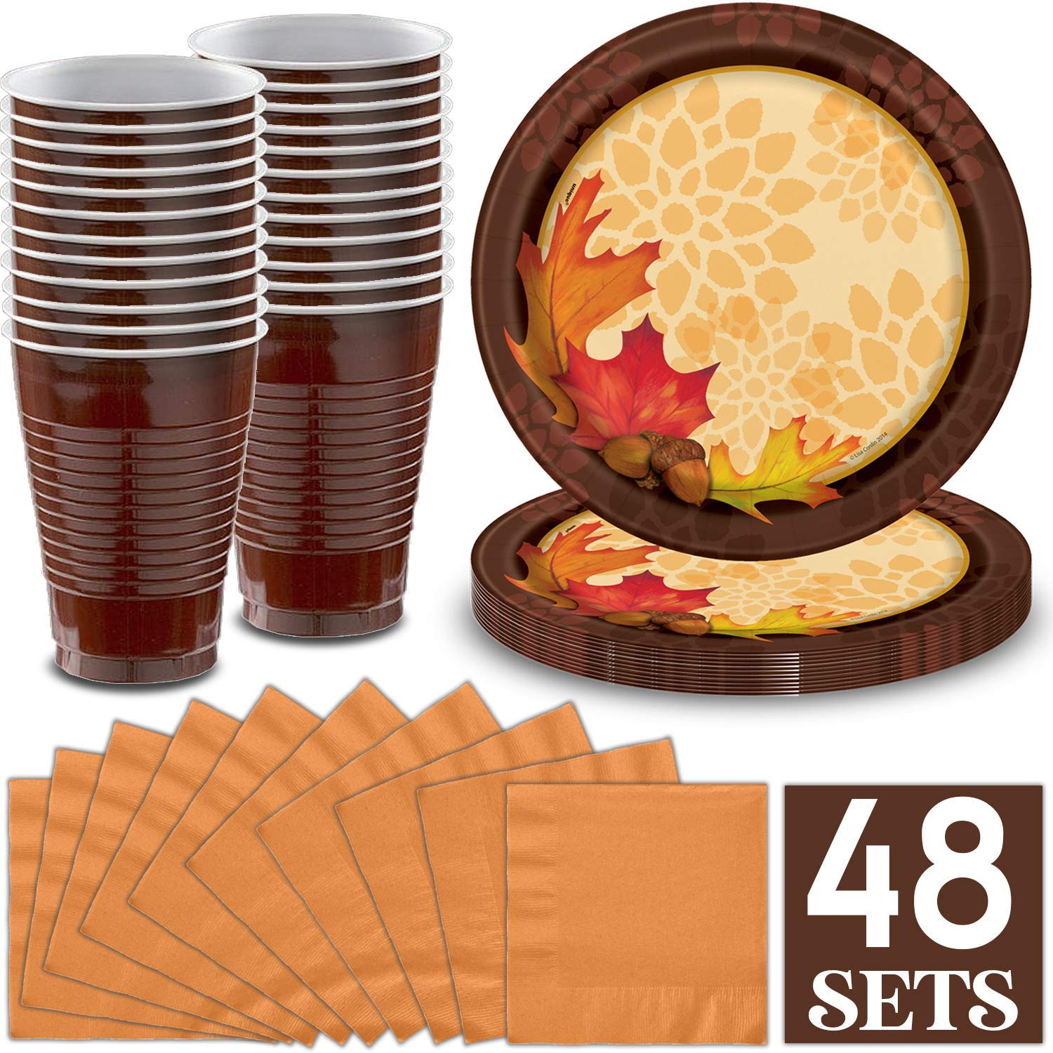Fall Season & Thanksgiving Party Supplies for 48 - Large Plates with Leaf design, Brown Plastic Cups, Pumpkin Color Napkins, Great Autumn Decorative Tableware Set by HeroFiber