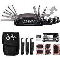 Tagvo Trousse d'outils de vélo,16 en 1 Ensemble Bicyclette Réparation multifonction Bundle,avec kit de patch,leviers de pneu,outils trousse de fixation de bicyclette,Vélo Réparation Sac kits d'entret