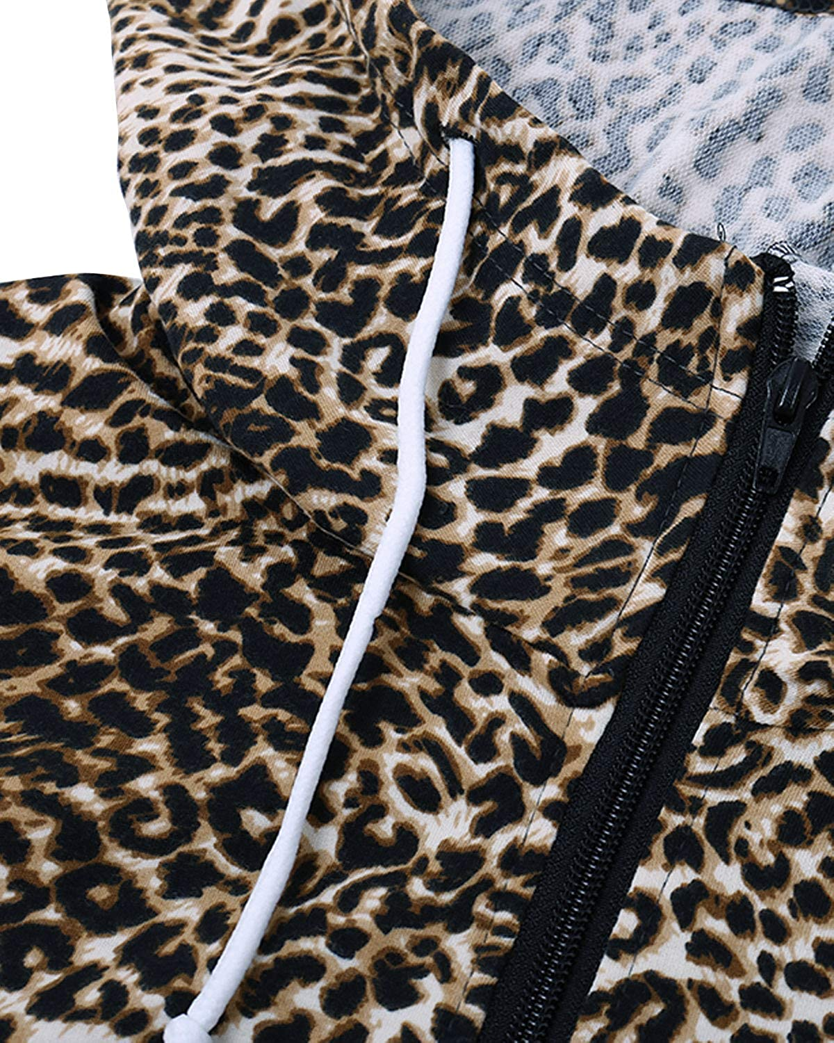 SOLERSUN Womens Casual Long Sleeve Leopard Hoodies Sweatshirt Zip Color Block Pullover Tops with Pockets