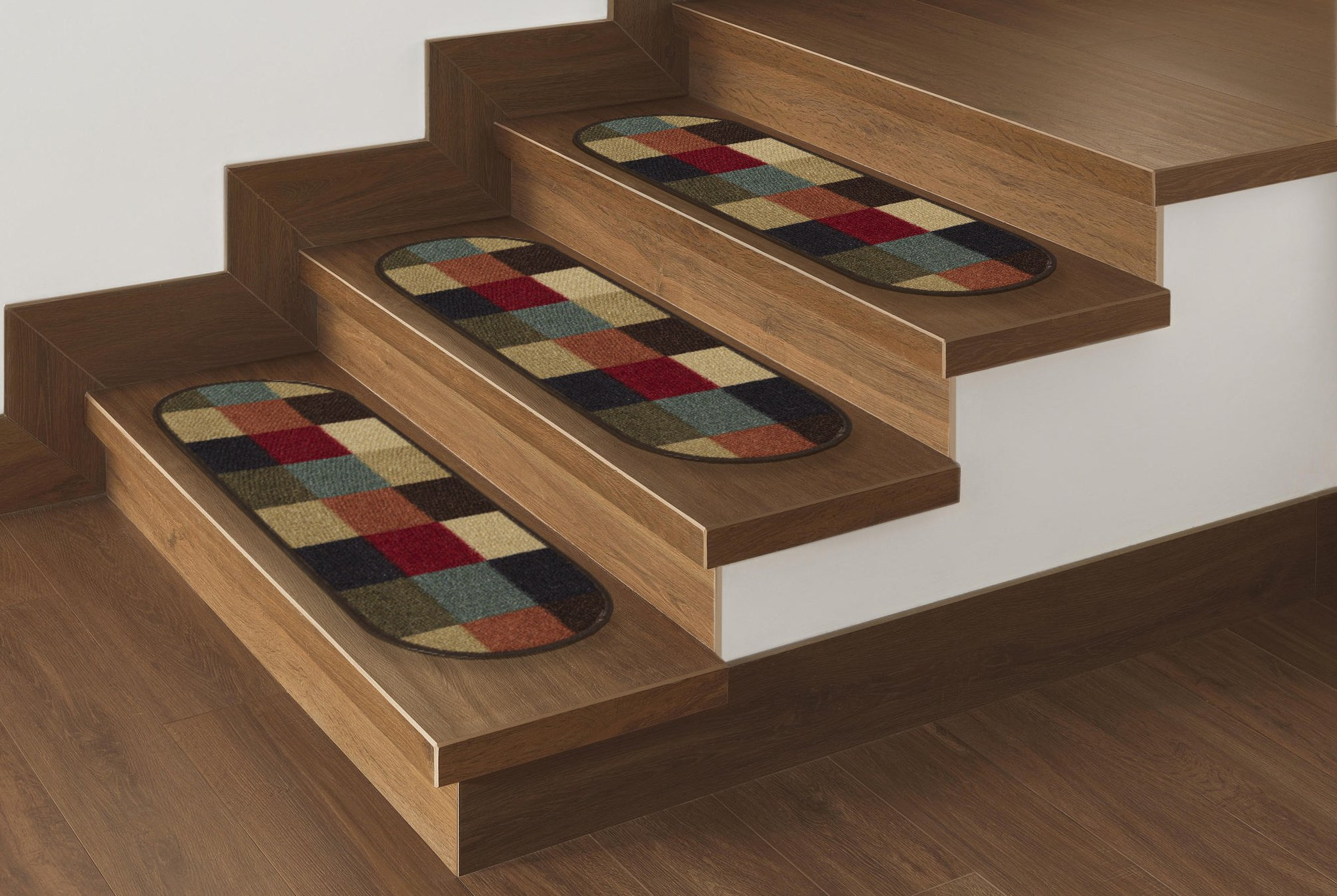 Ottomanson Ottohome Collection 7 Checker Stair Treads 8.5''X26'', 7 Pack Oval, Multicolor Checker