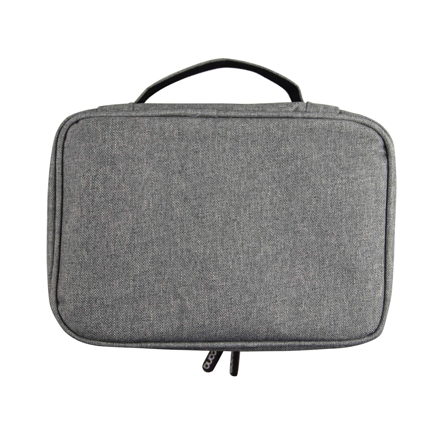 Electronic Organizer, Double Layer Travel Computer Cable Bag for Cord, Battery, Camera, Ipad Air (Gray)