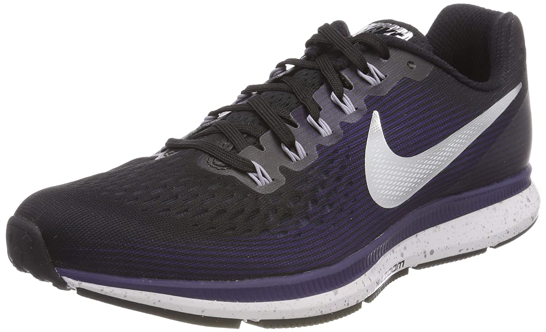 NIKE Women's Air Zoom Pegasus 34 Running Shoe B0763SMR9V 9 B(M) US|Black/Ink/Provence Purple/Metallic Silver