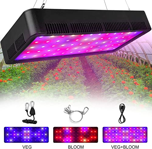 Honesorn 600W LED Grow Light, Full Spectrum Growing Lamp with Veg Bloom Switch UV IR, Indoor Garden Plant Light with Adjustable Rope, Grow Lights for Indoor Plants, Greenhouse 600w