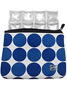 Icy Cools Neoprene Insulated Pouch for Insulin, Medicine and Makeup - TSA Compliant (Blue Dot)