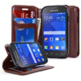 Galaxy Stardust Case, Galaxy Ace Style Case, NageBee - Design Dual-Use Flip PU Leather Fold Wallet Pouch Case for Samsung Galaxy Ace Style S765C / Galaxy Stardust S766C (Wallet Leather Brown)
