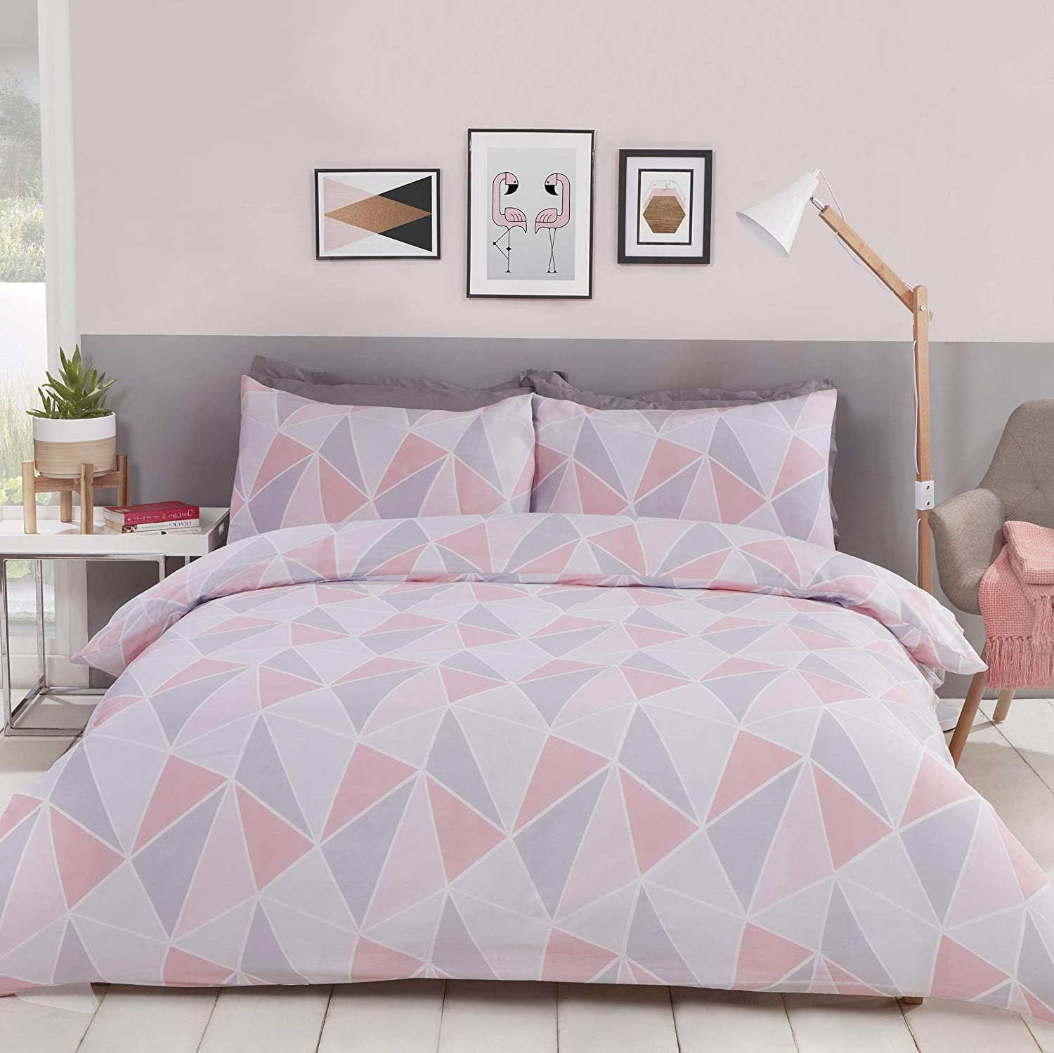Myhome Geometric Double Duvet Quilt Cover Bedding Set Pink Grey