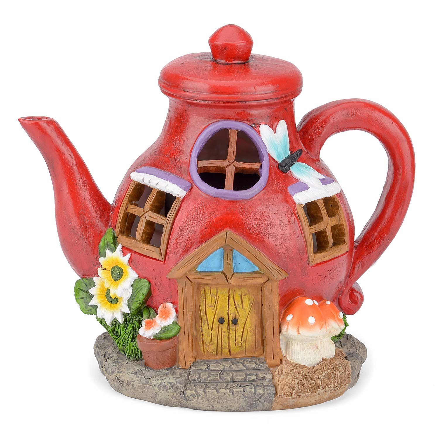Christow Solar Powered Fairy House LED Watering Can Garden Light Outdoor Ornament Purple