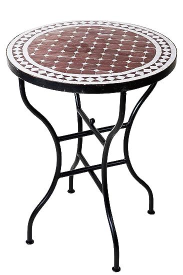 ORIGINAL Marokkanischer Mosaiktisch Bistrotisch ø 60cm Groß Rund Klappbar | Runder  Kleiner Mosaik Gartentisch Mediterran |