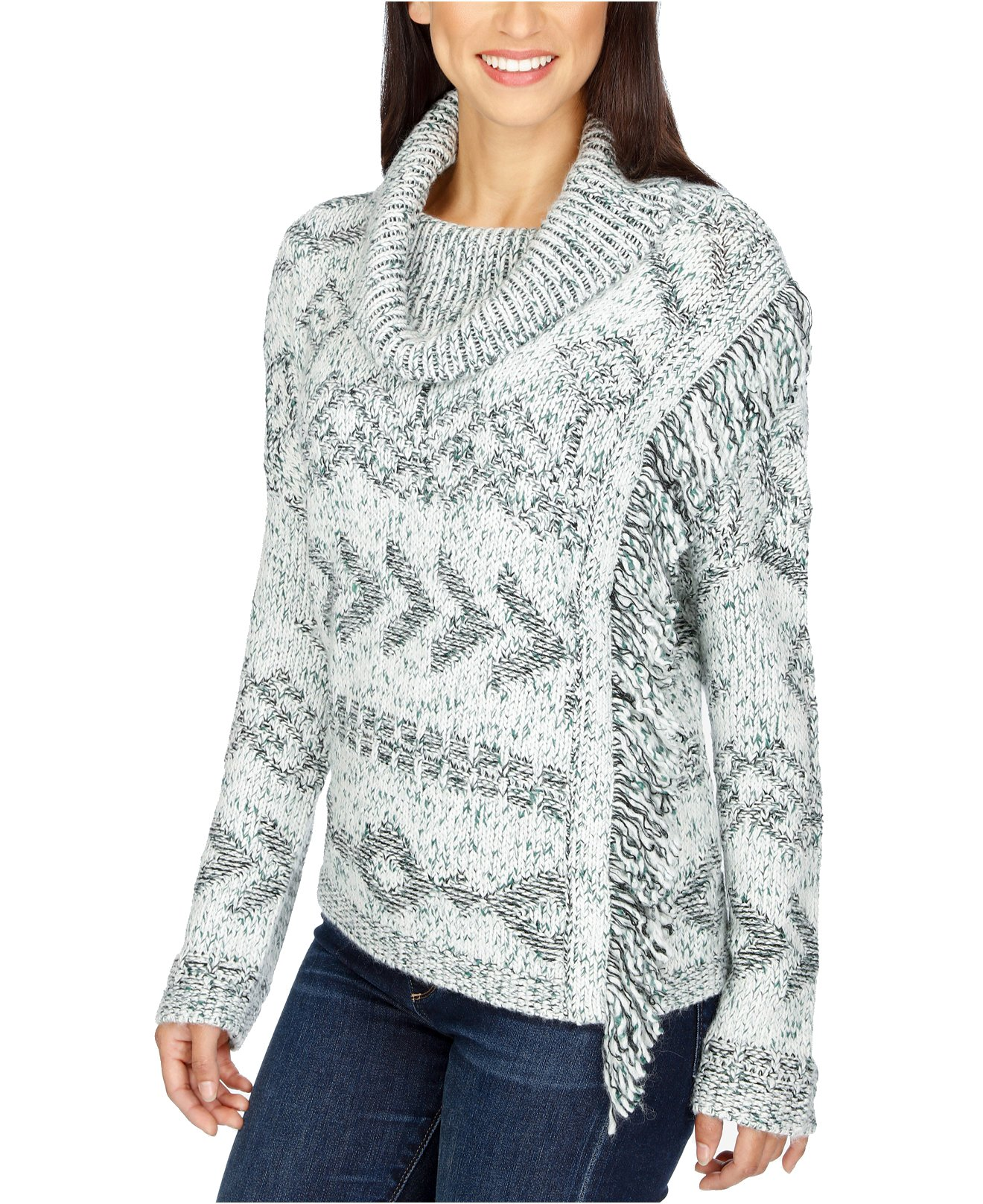 Lucky Brand Women's Cowl-Neck Fringe Sweater (X-Large, Multi)