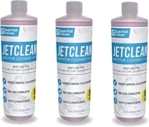 3 Pack Jetted Tub Cleaner (16 fl oz Per Bottle / 24 uses Total) For Jetted Tub Systems, Comparable to OH YUK - Made in USA by Essential Values