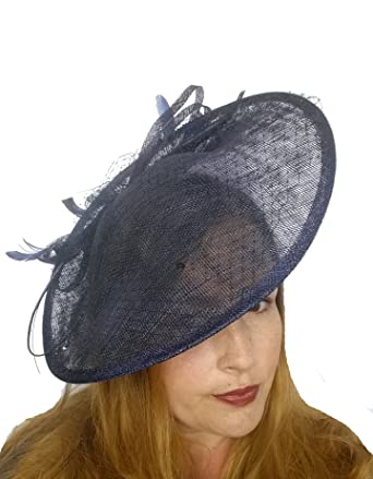 Martha Rose Boutique Navy Blue Large Sinamay Saucer Fascinator   Net Detail  - Wedding Races  Amazon.co.uk  Clothing 99271165130