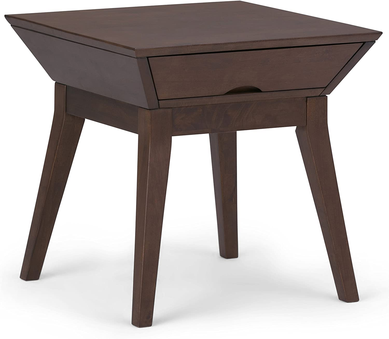 Simpli Home AXCTSA-02 Tessa Solid Hardwood 22 inch Wide Square Contemporary End Side Table in Walnut Brown