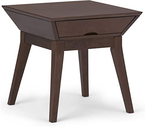 SIMPLIHOME Tessa Solid Hardwood 22 inch wide Square Contemporary End Side Table