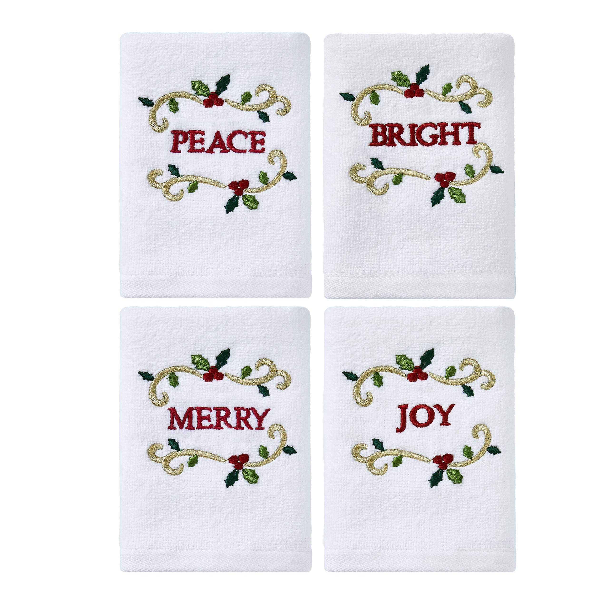 Serafina Home Christmas Holiday White Hand Tip Towels: Decorative Embroidered Peace, Joy, Merry, Bright