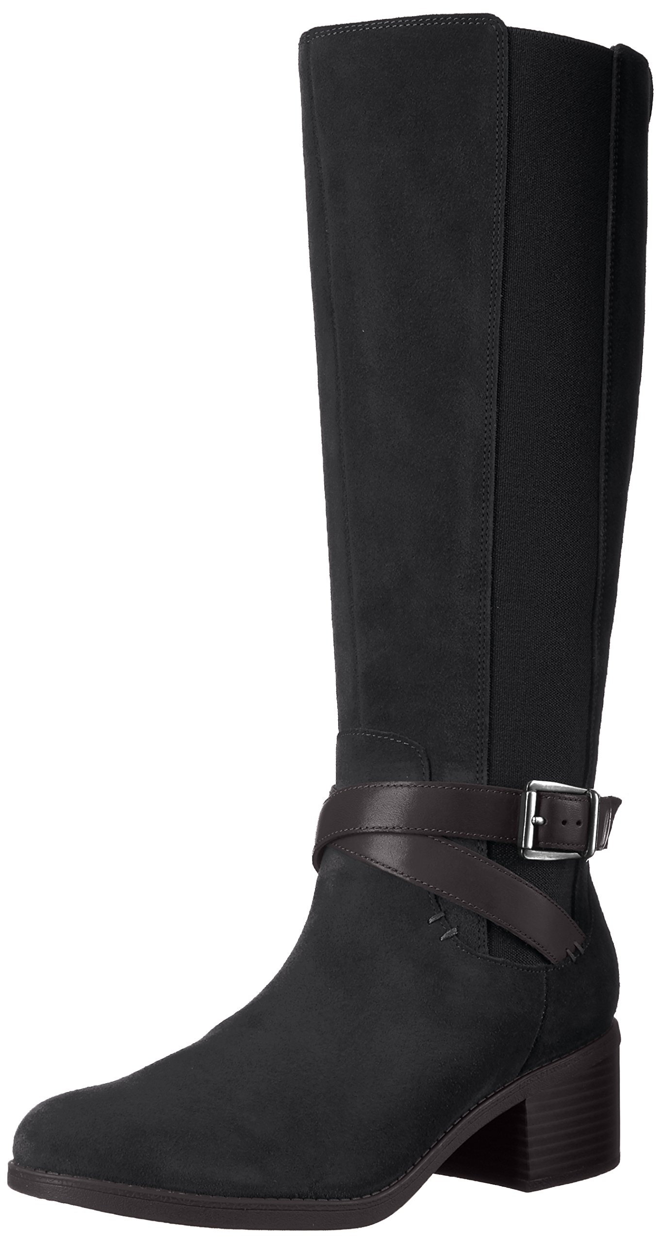 Clarks Women's Emslie Sinai Wide Calf Winter Boot, Black, 6 M US by CLARKS