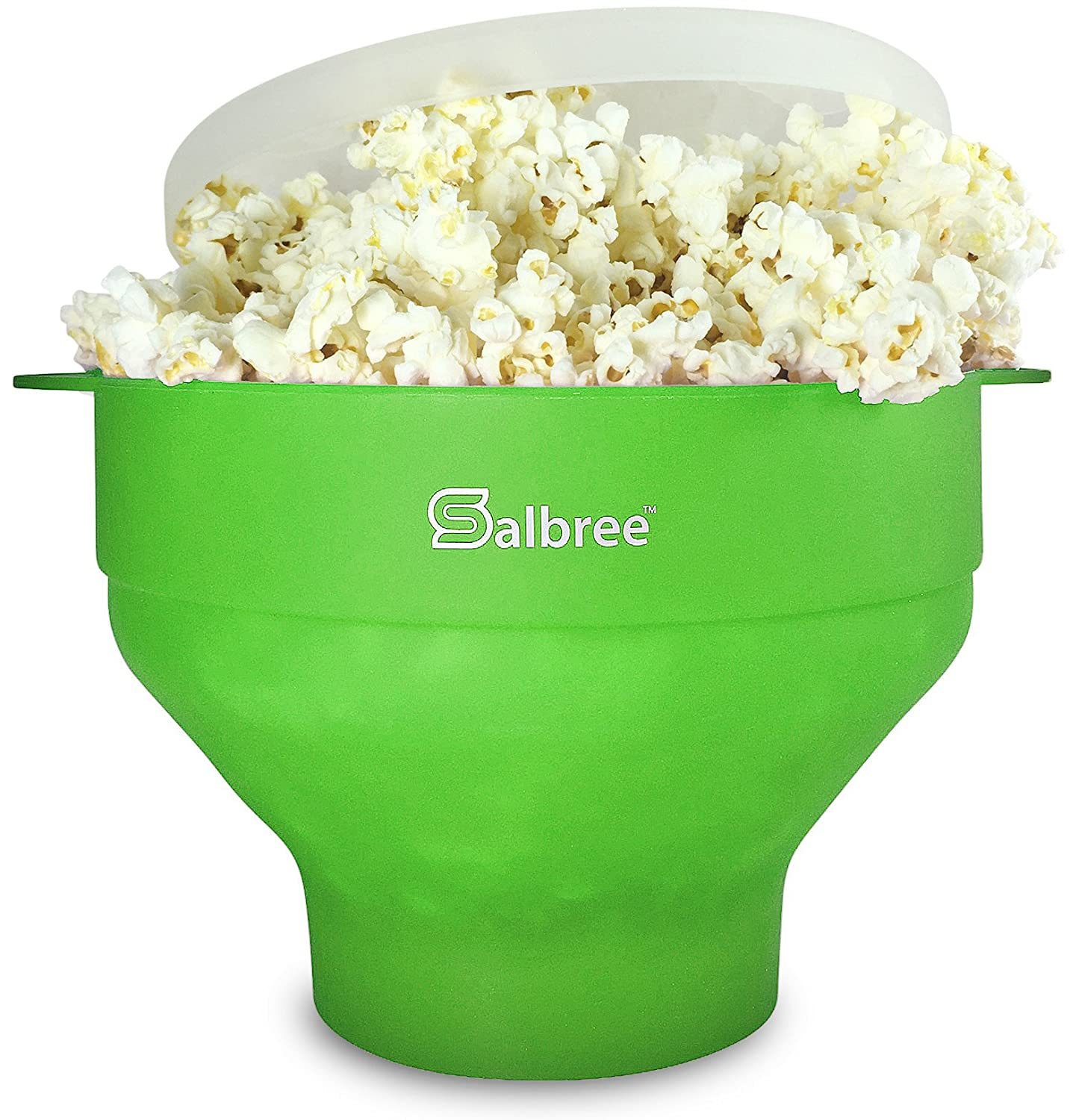 The Original Salbree Microwave Popcorn Popper, Silicone Popcorn Maker, Collapsible Bowl BPA Free - 14 Colors Available (Green)