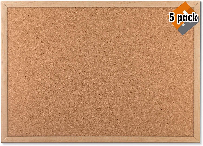 U Brands Cork Bulletin Board, 23 x 17 Inches, Light Birch Wood Frame (265U00-01) - 5 Pack by U Brands