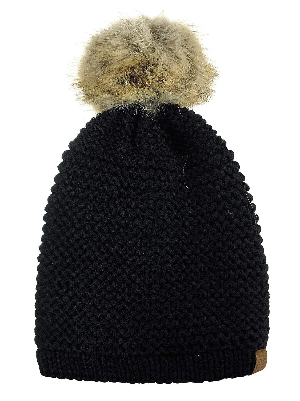C.C Horizontal Knit Faux Fur Pom Back Drawstring Slouch Beanie Hat