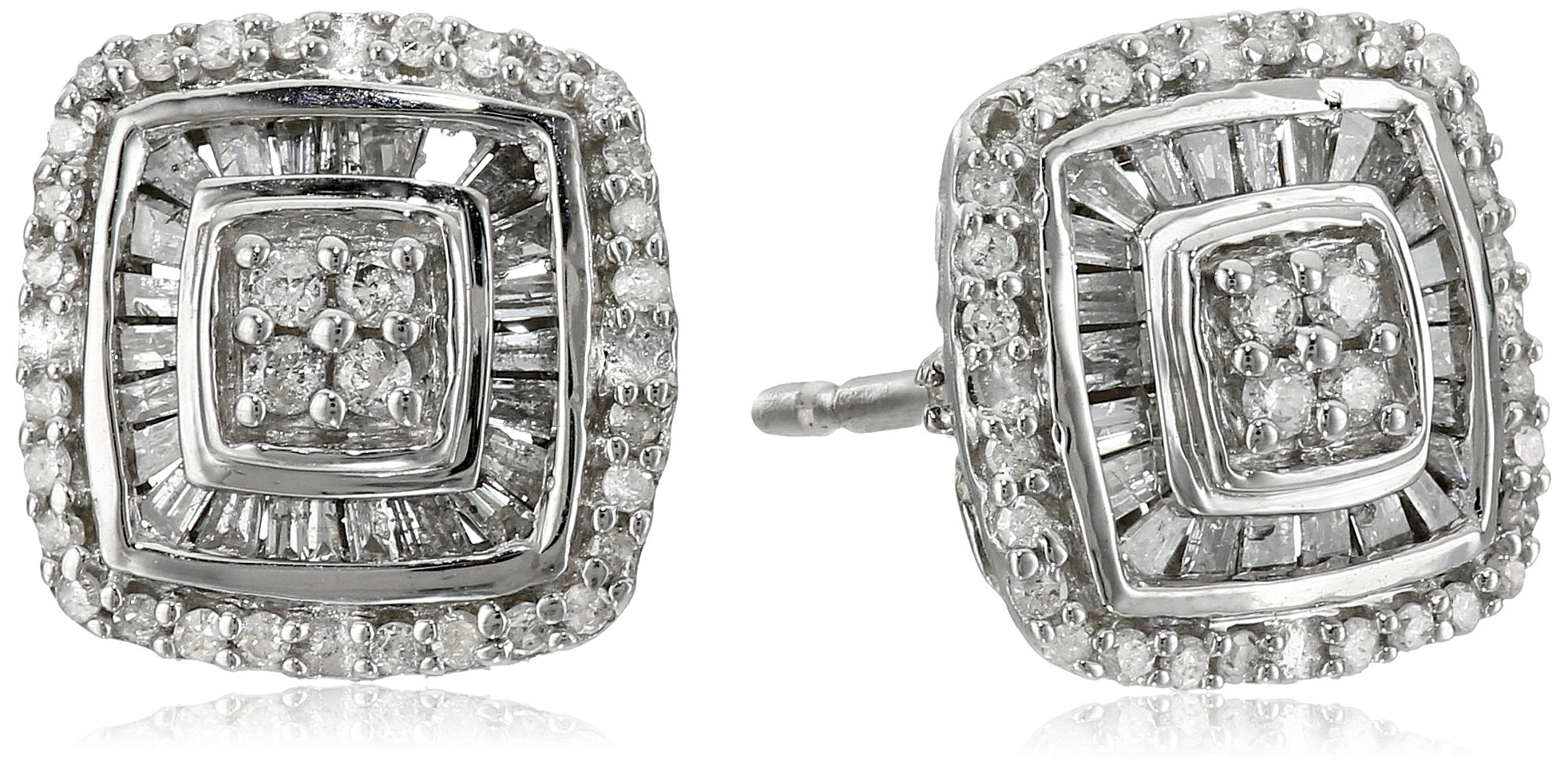 Sterling Silver Diamond Cushion Stud Earrings (1/2 cttw)